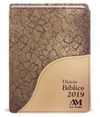 DIARIO BIBLICO 2019 - CAPA LUXO MARROM FLORAL