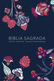 BÍBLIA NVT LETRA NORMAL - INDIAN FLOWERS (AZUL MARINHO)