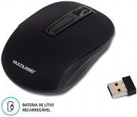 MOUSE SEM FIO 2.4GHZ LITIO PRETO USB MO277 - MULTILASER